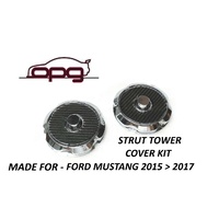 Carbon / Chrome Alloy Strut Tower Cap Kit for Ford Mustang GT 5.0 Litre 2015>17