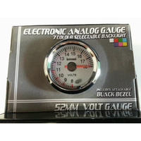 Performance Volts 52mm Analog Gauge White Face 7 Colour Lighting