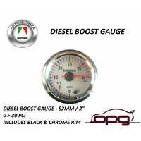 Performance Boost 52mm Analog Gauge White Face 7 Colour Lighting Diesel Motors