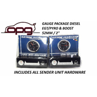 Performance Diesel - EGT Pyro & Boost Gauge 52mm Analog Gauge Bundle Black Face
