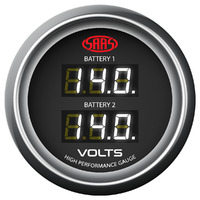 SAAS Dual Volts Gauge Black Face 4 Colours Dual Battery 4WD Landcruiser Hilux