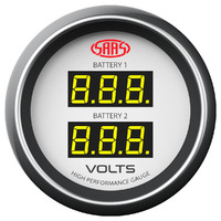 "SAAS 52mm Voltage Gauge - Dual Digital 8-18V 4 Colour Display SAAS 2"" White"