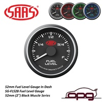 SAAS SG-FL52B Fuel Level Gauge 52mm Black Muscle Series Uses Your Existing Fuel Tank Sender