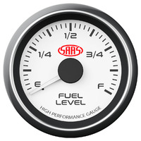 SAAS SG-FL52W Fuel Level Gauge 52mm White Muscle Series Uses Your Existing Fuel Tank Sender