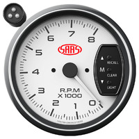 SAAS SG-TAC334W 95mm 3.75 Inch Recall Tacho Shift Light White Face Gauge
