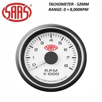 SAAS Performance Tacho Tachometer 52mm Analog Gauge White Face 4 Colour Lighting