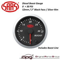 "SAAS Boost 2"" 52MM  0>30 PSI Streetline Series Gauge Black Face 7 Colour Diesel"