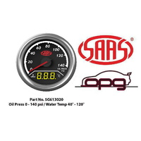 SAAS TRAX DIGITAL DUAL TWIN READING GAUGE OIL PRESSURE 0-140 PSI WATER TEMP >120