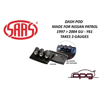 SAAS Gauge Top of Dash Pod Made for Nissan GU Patrol Y61 1997-2004 for 3 X 52mm Gauges