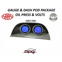 Gauge Dash Pod LCD Gauge Combo Voltmeter & Oil Pressure Grey for Holden VY VZ