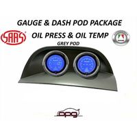 Gauge Dash Pod LCD Gauge Combo Oil Temp & Pressure Grey for Holden VY VZ SV8
