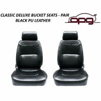 Classic Deluxe PU Leather Bucket Seats Car Reclinable Black Holden Monaro