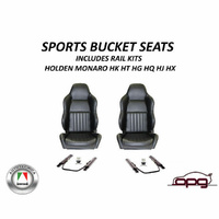 CLASSIC HIGH BACK BLACK PU LEATHER SPORTS BUCKET SEATS HOLDEN HQ HJ HX MONARO PR
