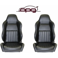 CLASSIC HIGH BACK PU LEATHER BUCKET SEATS CAR RECLINABLE - BLACK CHEVROLET CHEVY