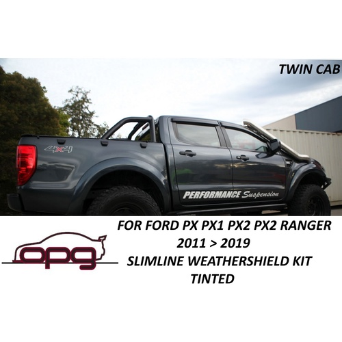 SLIMLINE WEATHERSHIELD WEATHER SHIELD KIT FOR FORD RANGER TWINCAB PX PX1 PX2 PX3 PX I PXII PXIII XLS XLT WILDTRAK RAPTOR DARK TINTED PLASTIC